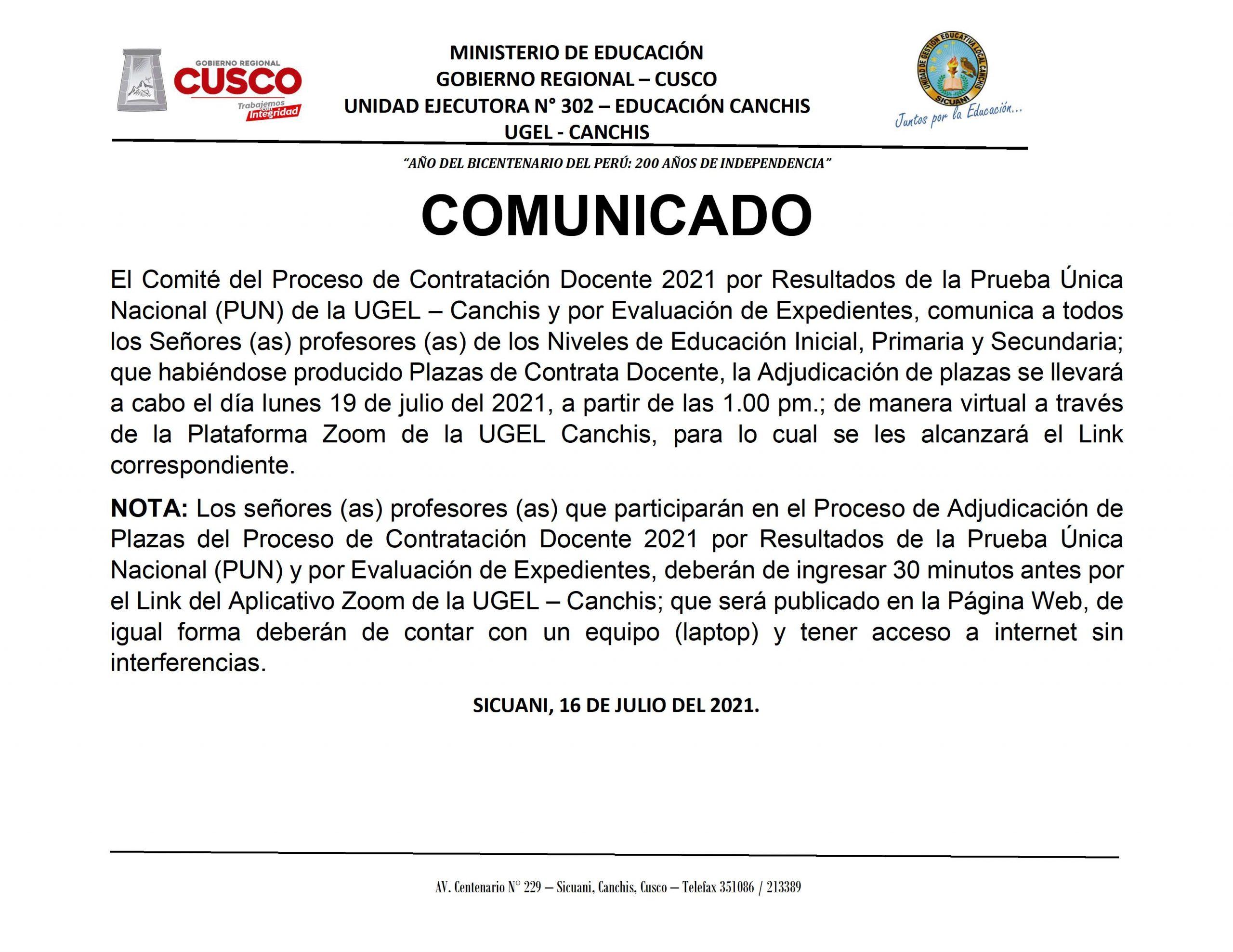 COMUNICADO – Proceso de Contratación Docente 2021 por Resultados de la Prueba Única Nacional (PUN) de la UGEL – Canchis y por Evaluación de Expedientes.