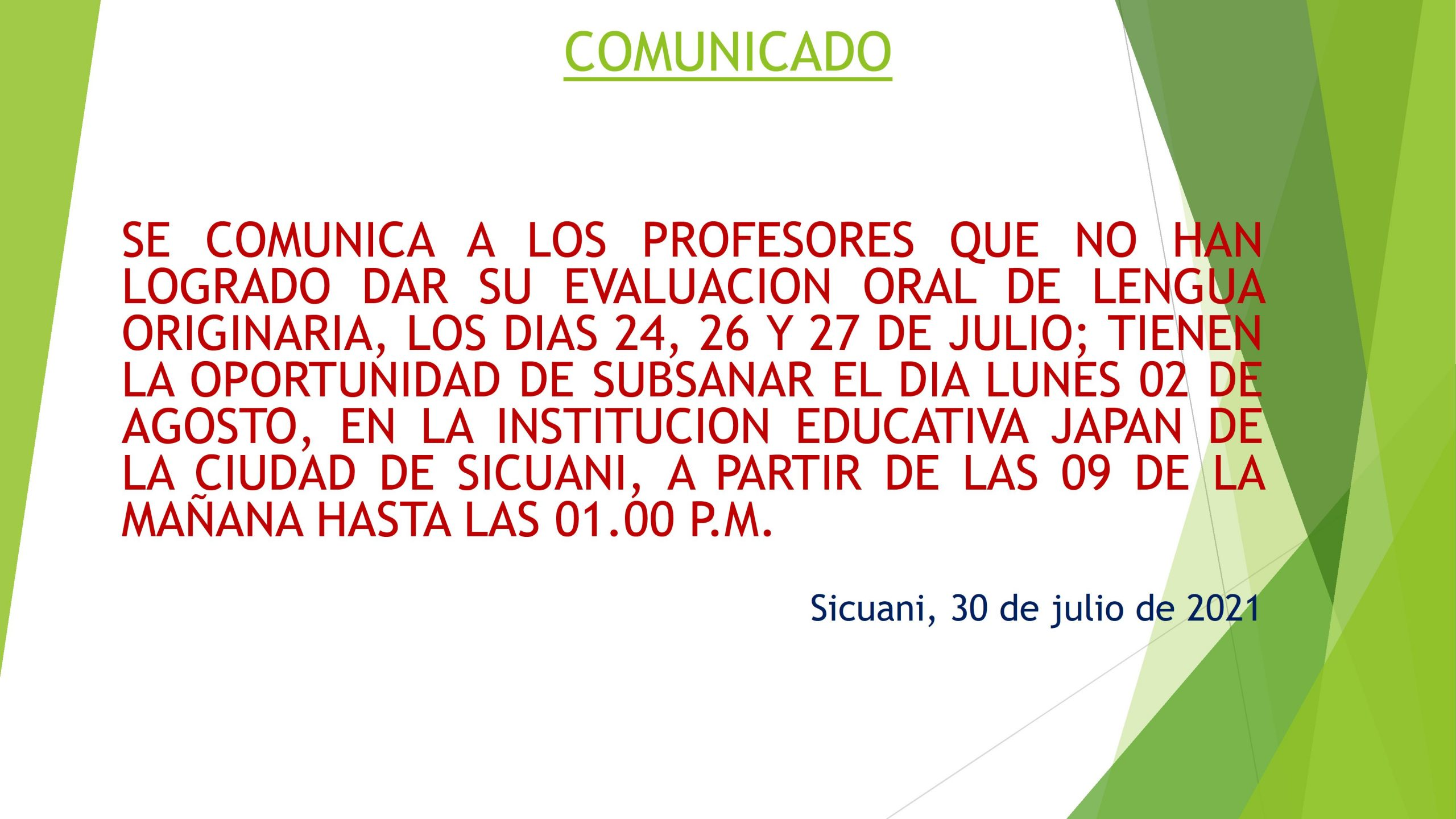 Read more about the article COMUNICADO – EVALUACION ORAL DE LENGUA ORIGINARIA