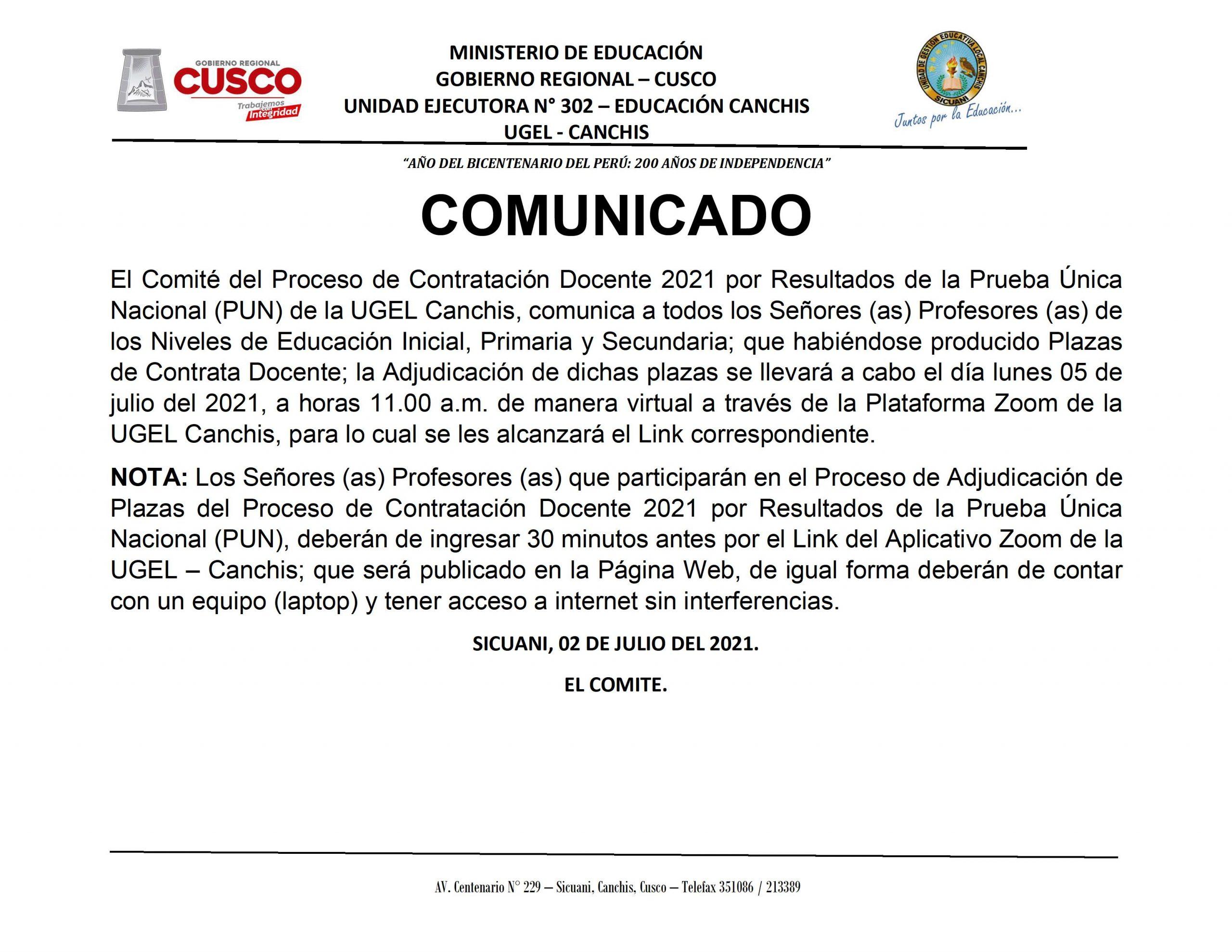 Read more about the article COMUNICADO – Proceso de Contratación Docente 2021 por Resultados de la Prueba Única Nacional (PUN) de la UGEL Canchis