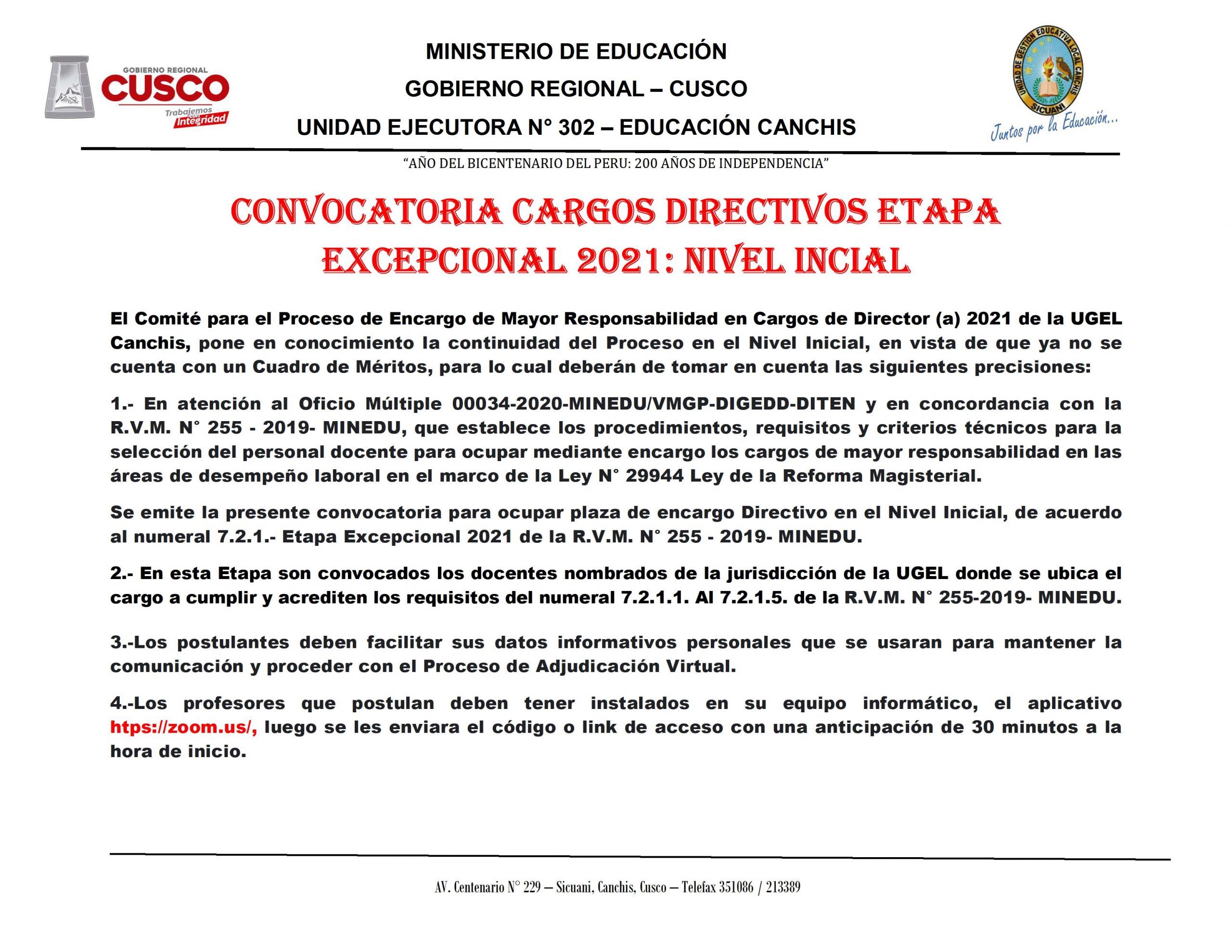 Read more about the article CONVOCATORIA CARGOS DIRECTIVOS ETAPA EXCEPCIONAL 2021: NIVEL INCIAL