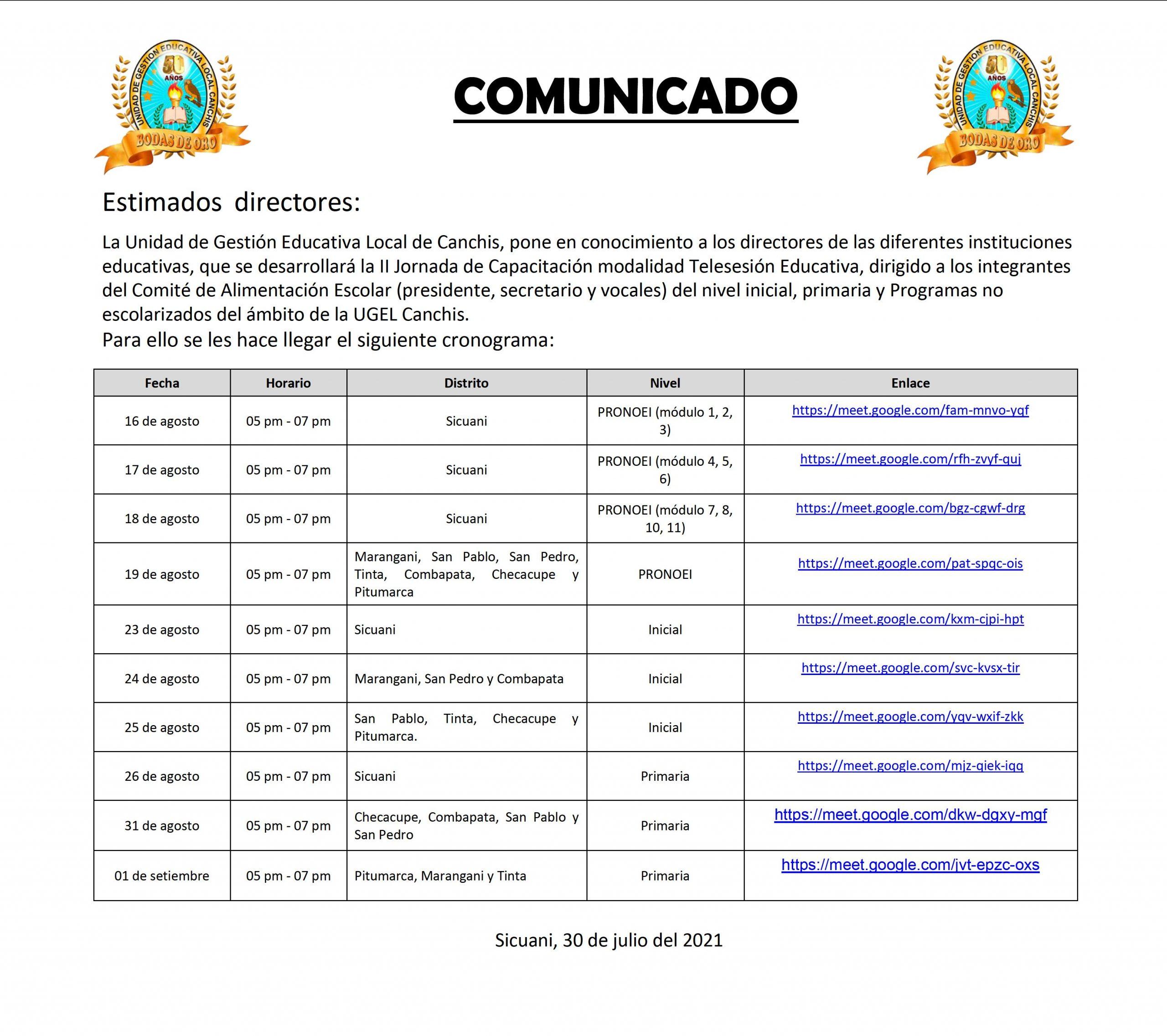 Read more about the article COMUNICADO – II JORNADA DE CAPACITACIÓN MODALIDAD TELESESIÓN EDUCATIVA