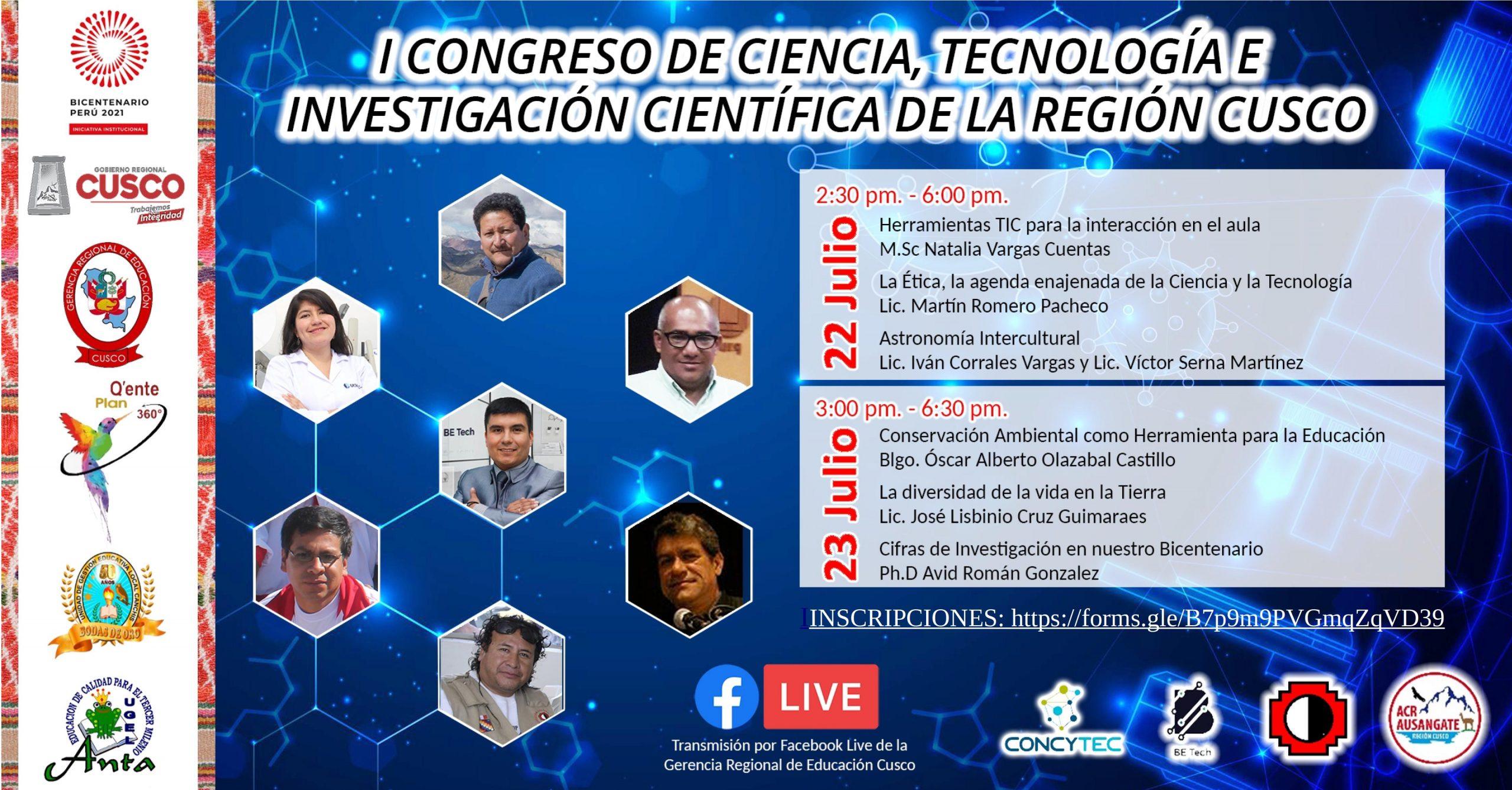 Read more about the article I CONGRESO DE CIENCIA, TECNOLOGÍA E INVESTIGACIÓN CIENTÍFICA DE LA REGION CUSCO
