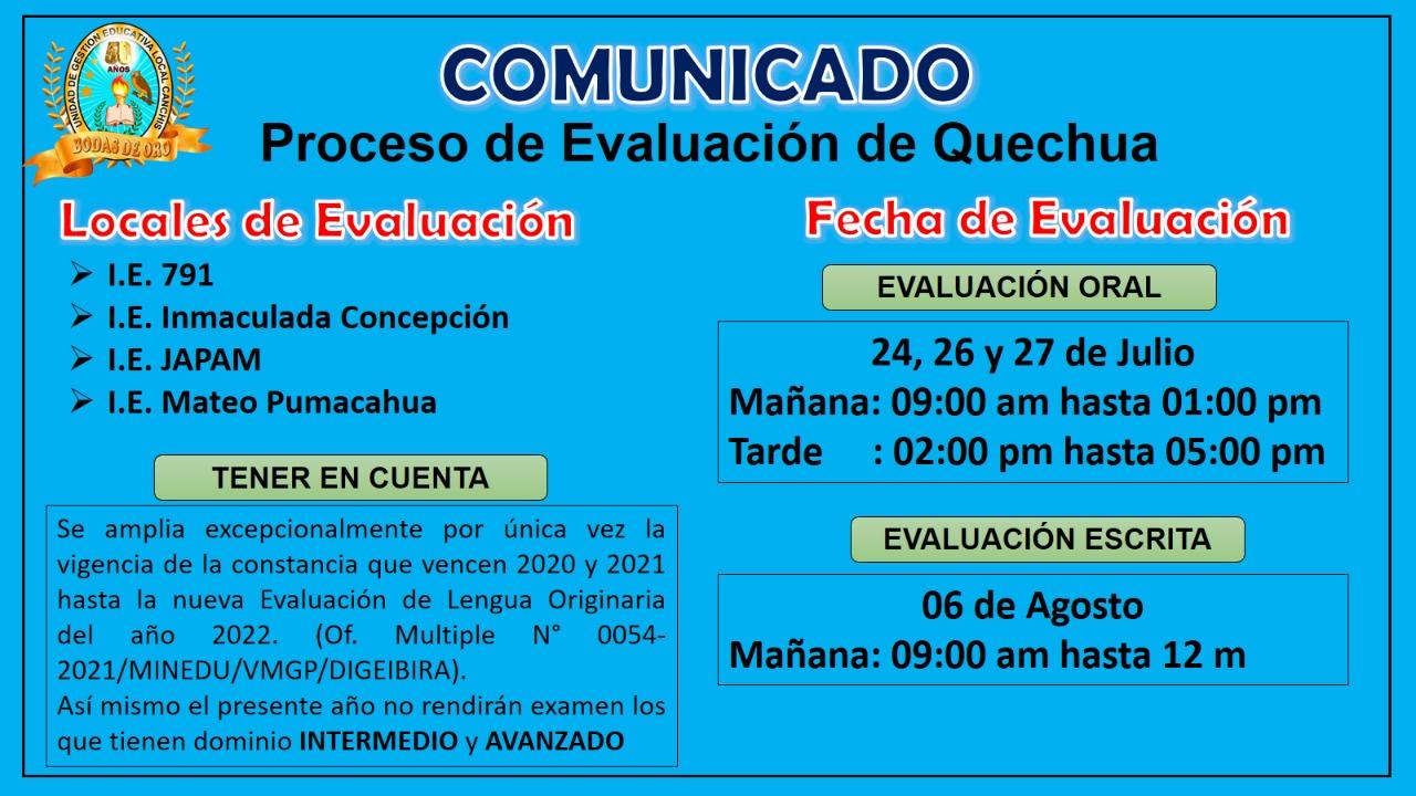 COMUNICADO – Proceso de Evaluación de Quechua