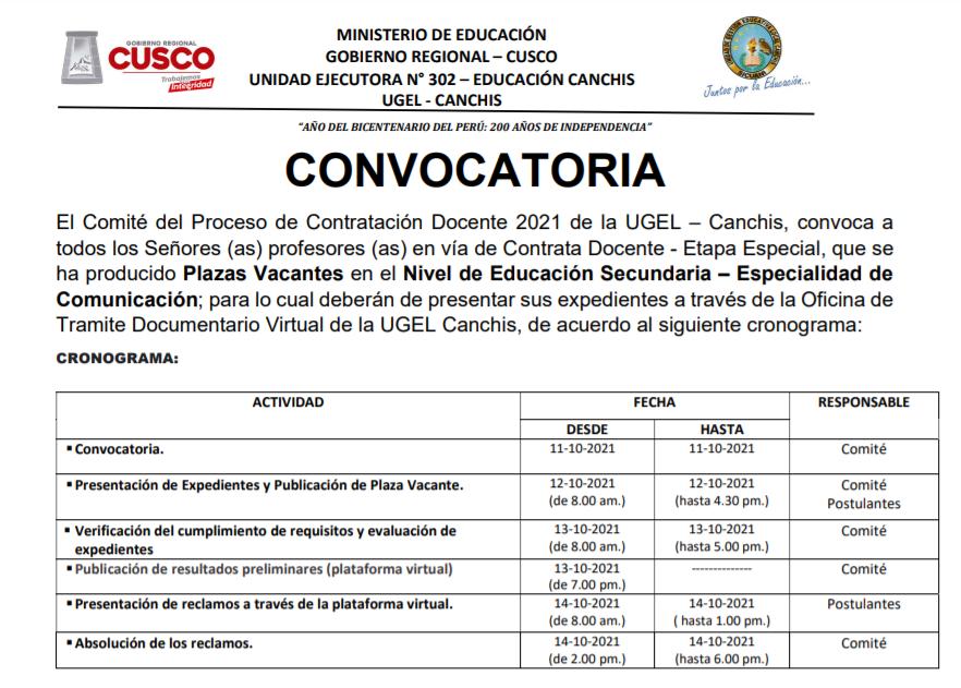 Read more about the article CONVOCATORIA – Contrata Docente Especialidad de Comunicación