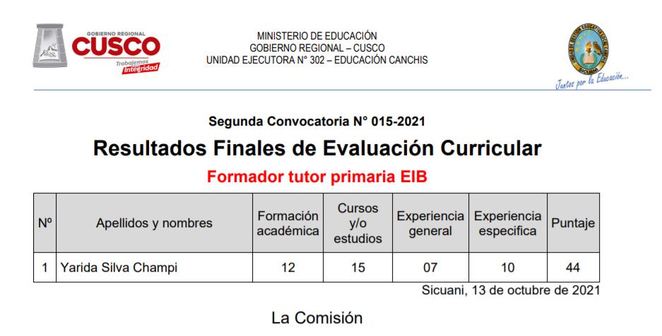 Read more about the article Resultados Finales de Evaluación Curricular – Formador Tutor Primaria EIB