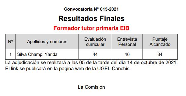 Read more about the article Resultados Finales CAS Nº 015-2021 Formador Tutor Primaria EIB