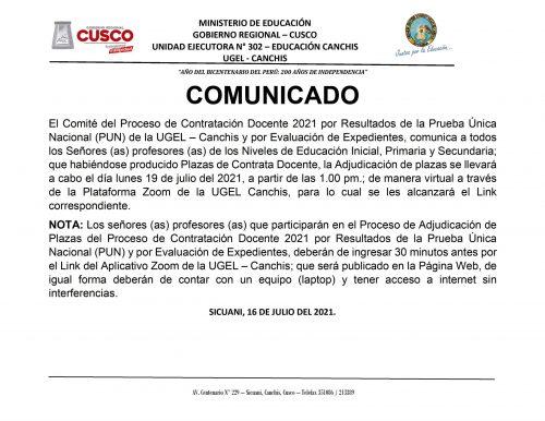 COMUNICADO CONTRATA DOCENTE JULIO 2021.