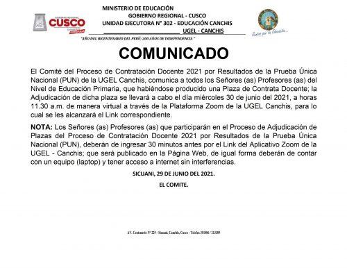COMUNICADO CONTRATA DOCENTE NIVEL PRIMARIO-29062021