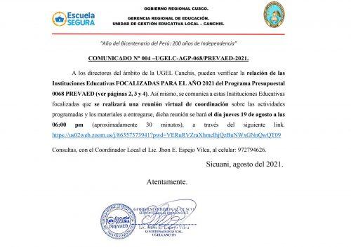 COMUNICADO N° 4 URGENTE IIEE FOCALIZADAS AÑO 2021 PREVAED Y REUNIÓN DE COORDINACIÓN1