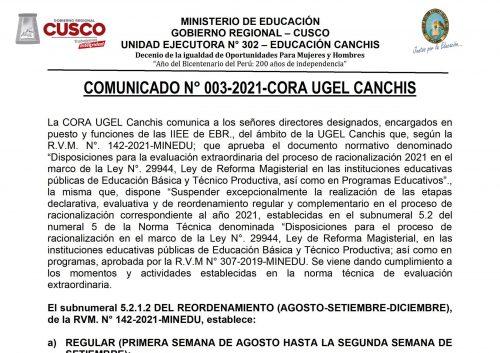 COMUNICADO RACIO 3-21_