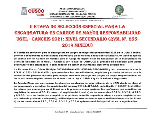 CONTRATA ESPECIALISTA SECUNDARIA - CC.SS. 2021 - 0001
