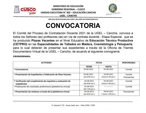 CONVOCATORIA CETPRO CONTRATA DIOCENTE 2021 - 0001