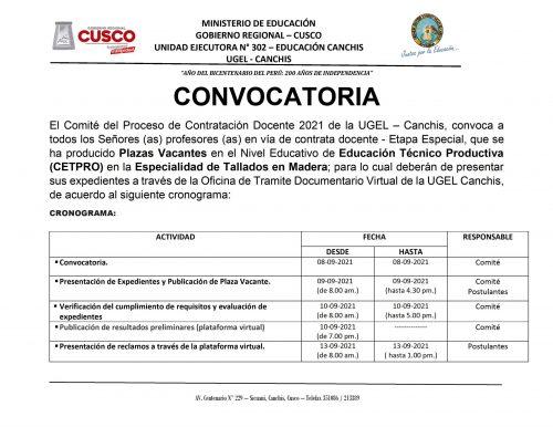CONVOCATORIA CETPRO TALLADO EN MADERA 2021 - 0001