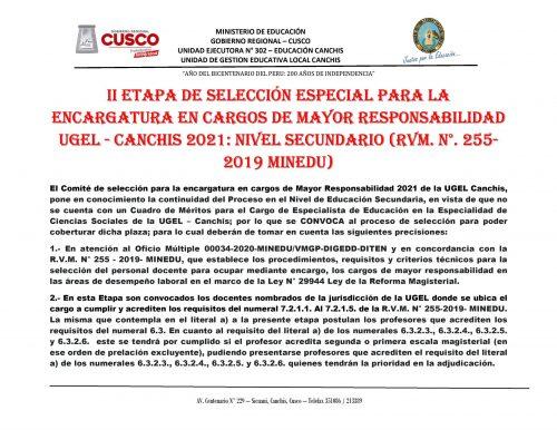CONVOCATORIA PARA ESPECIALISTA EN EDUCACION UGEL CANCHIS 2021 - 0001