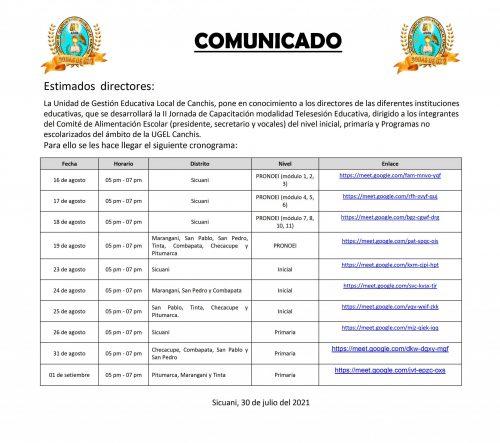 Comunicado para directores 2021