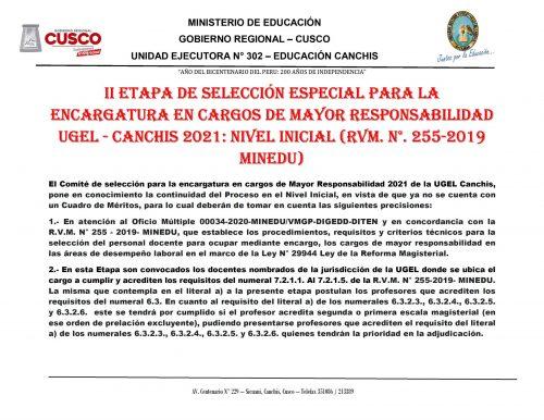 II ETAPA SELECCION ESPECIAL NIVEL INICIAL 2021. - 0001